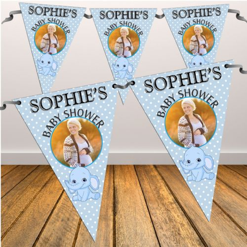 Personalised Blue Boy Baby Shower Flag PHOTO Bunting Banner - N33